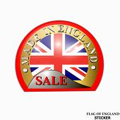 Made In England Sticker. Bright Sticker With Flag Of England. Happy England Day Sticker. Bright Butt poster