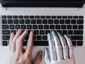 Robot Hands And Fingers Point To Laptop Button Advisor Chatbot Robotic Artificial Intelligence Conce poster