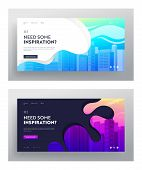 City Buildings Website Landing Page Set. Town Apartment Banner, Cityscape And Modern Townscape, Urba poster