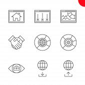 Seo Related Vector Line Icons Set. Partners, Data Management, Seo Data, Competitive Analysis, Homepa poster