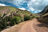 dirt road to the top of mountain Kaliakouda in Evritania, Greece
