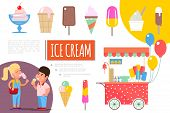 Flat Ice Cream Colorful Composition With Sundae Popsicles Ice Cream On Stick And In Waffle Cone Icec poster
