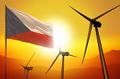 Czechia Wind Energy, Alternative Energy Environment Concept With Turbines And Flag On Sunset - Alter poster