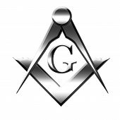 stock photo of freemasons  - Silver Freemason symbol on a solid white background - JPG