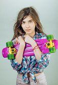 Plastic Mini Cruiser Board. Spring. Urban Scene, City Life. Skateboard Sport Hobby. Summer Activity. poster