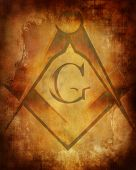 picture of freemason  - Old paper texture with freemason symbol on it - JPG