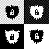 Shield Security With Lock Icon Isolated On Black, White And Transparent Background. Protection, Safe poster