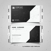 Abstract Black And White Technology Name Card Template Design. Illustration Vector Eps10 poster