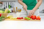 Diet. Young Pretty Woman In Green Shirt Cutting Cooking And Knife Preparing Fresh Vegetables Salad F poster
