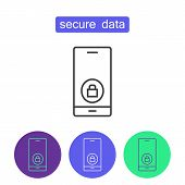 Secure Data Outline Icons Set. Editable Stroke Mobile Security Sign. Symbol Of Cyber Safety Technolo poster