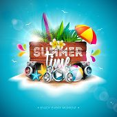 Vector Summer Time Holiday Illustration With Typography Letter And Vintage Wood Board On Blue Backgr poster