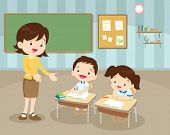Teacher Teaching Students In Classroom.classroom With Teacher And Pupils.children Boy And Girl Sitti poster