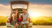 concept of family car insurance or rental cars poster