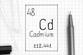 The Periodic Table Of Elements. Handwriting Chemical Element Cadmium Cd With Black Pen, Test Tube An poster