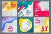 Editable Social Banners. Simple Web Visual Offers Web Media Content Square Business Banners Vector I poster
