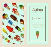 Ice Cream Banner Summer Natural Fresh And Cold Sweet Food Vector Illustration. Healthy Homemade Tast poster