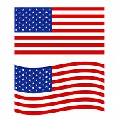 United States Flag Icon On White Background. Flat Style. Flag Of The United States Icon For Your Web poster