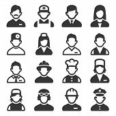 Professions Avatars Set On White Background. Vector poster