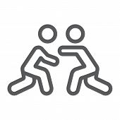 Wrestling Line Icon, Sport And Combat, Wrestlers Fighting Sign, Vector Graphics, A Linear Pattern On poster