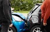 Two Angry Motorists Arguing Over Responsibility For Car Accident poster