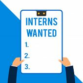 Word Writing Text Interns Wanted. Business Concept For Looking For On The Job Trainee Part Time Work poster