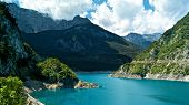 foto of negro  - View of Piva lake and mountains in Monte Negro - JPG