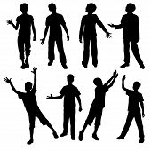 Collection Of Boys Silhouettes. Set Of Different Child Silhouettes Isolated On White Background. Vec poster