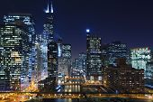 picture of willy  - Image of Chicago downtown and Chicago River with bridges at night - JPG