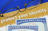 stock photo of safeguard  - Protect personal identity concept of privacy theft - JPG