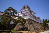 stock photo of fukushima  - Aizu Wakamatsu Castle and blue sky Fukushima Japan - JPG
