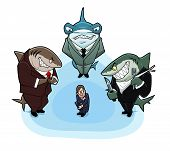 pic of loan-shark  - Business sharks surrounded the young and inexperienced man - JPG