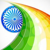 foto of ashok  - illustration of wave of Indian flag tricolor with Ashok Chakra - JPG