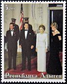 ABKHAZIA - CIRCA 2000 : Stamp printed in Abkhazia shows Charles of England Ronald Reagan Nancy Reaga
