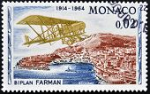 MONACO - CIRCA 1964: stamp printed in Monaco shows Farman biplane circa 1964
