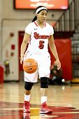 JAMAICA, NY-JAN 2: St. John's Red Storm guard Nadirah McKenith (5) dribbles the ball against the Del