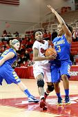 JAMAICA, NY-JAN 2: St John's Red Storm player drives to the net against the Delaware Blue Hens at Ca
