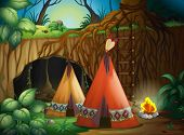 stock photo of tipi  - Illustration of a tent in nature in dark night - JPG