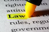 stock photo of fluorescent  - Word law highlighted with a yellow marker - JPG
