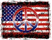 picture of peace-sign  - A vector illustration of the American flag and peace sign with grunge effects - JPG