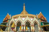 stock photo of kaba  - Kaba Aye Pagoda with buddha statue in Rangoon Myanmar - JPG