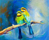 image of mating animal  - Original oil painting of blue tailed bee eaters song birds on canvas - JPG