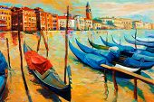 foto of gondola  - Original oil painting of beautiful Venice Italy on sunset - JPG