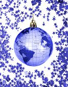 stock photo of christmas star  - Christmas world globe isolated on white background - JPG