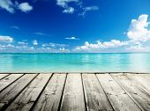 stock photo of caribbean  - Caribbean sea and wooden platform - JPG