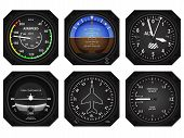 stock photo of barometer  - Set of six aircraft avionics instruments - JPG