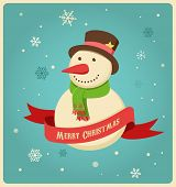 Christmas background and greeting card with hipster snowman