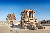 stock photo of chariot  - chariot and vittala temple at hampi india - JPG