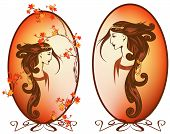 pic of fine art portrait  - art nouveau style autumn season woman with long beautiful hair portrait - JPG