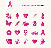 stock photo of  breasts  - Breast cancer awareness ribbon symbol and health care elements icons set - JPG