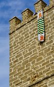 Medieval Castle Wall And Flag poster
